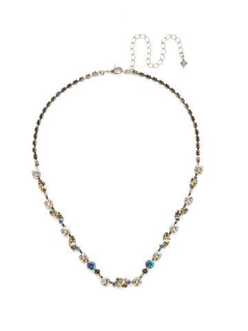 Simply Stated Line Necklace in Antique Silver-tone Crystal Rock