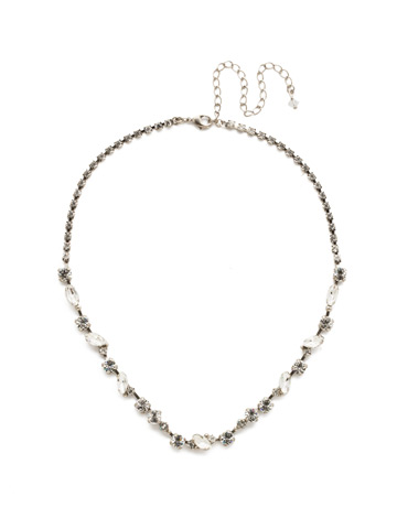 Simply Stated Line Necklace in Antique Silver-tone Crystal