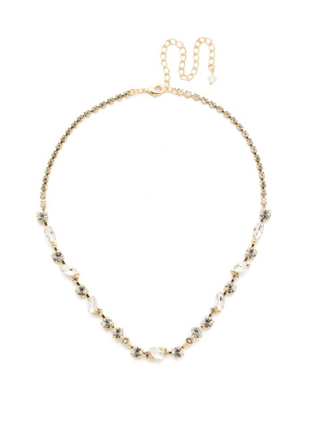 Simply Stated Line Necklace in Bright Gold-tone Crystal