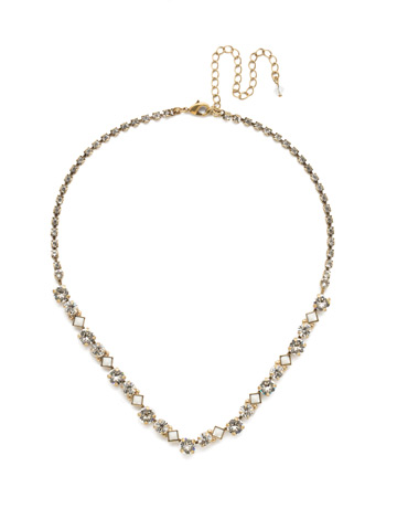 Dazzling Diamonds Line Necklace in Antique Gold-tone Crystal