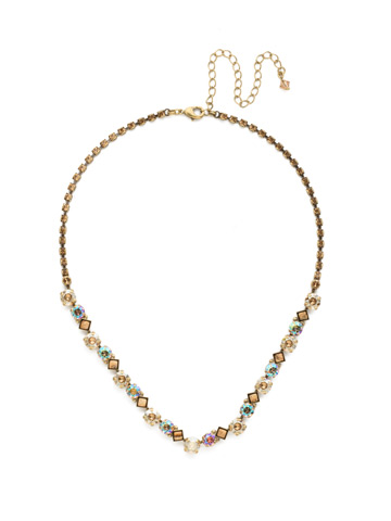 Dazzling Diamonds Line Necklace in Antique Gold-tone Neutral Territory