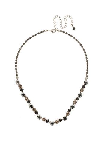 Dazzling Diamonds Line Necklace in Antique Silver-tone Black Onyx