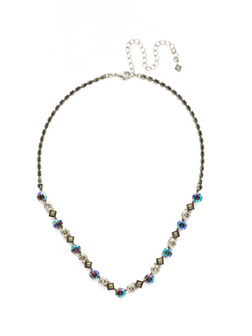 Dazzling Diamonds Line Necklace in Antique Silver-tone Crystal Rock