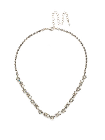 Dazzling Diamonds Line Necklace in Antique Silver-tone Crystal