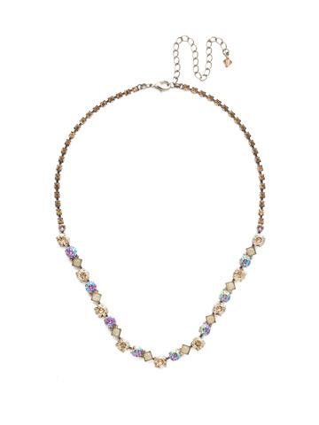 Dazzling Diamonds Line Necklace in Antique Silver-tone Mirage