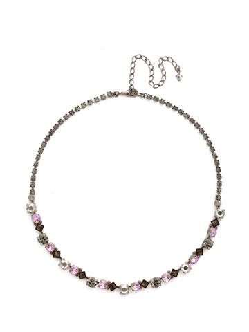 Dazzling Diamonds Line Necklace in Antique Silver-tone Purple Lotus