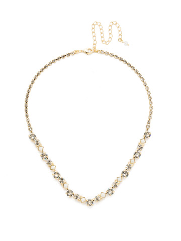 Dazzling Diamonds Line Necklace in Bright Gold-tone Crystal