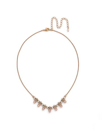 Twinkling Thistle Necklace in Antique Gold-tone Pink Peony