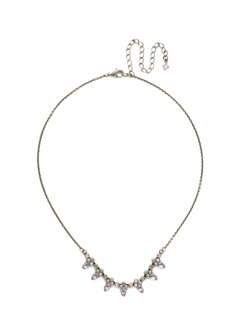Twinkling Thistle Necklace in Antique Silver-tone Lilac Pastel