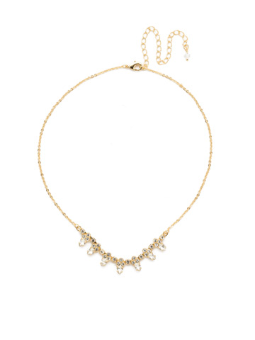 Twinkling Thistle Necklace in Bright Gold-tone Crystal