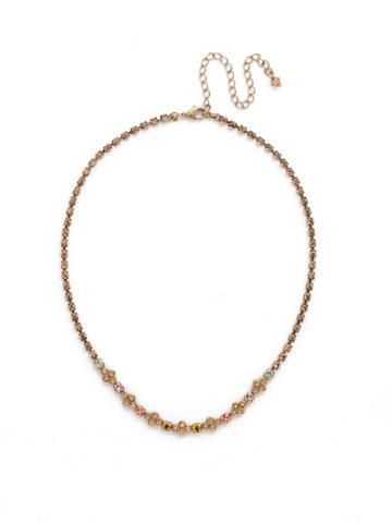 Trifolium Line necklace in Antique Gold-tone Rustic Bloom