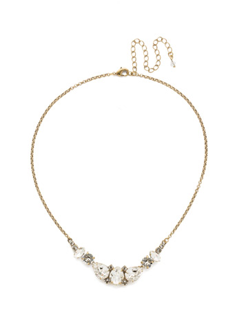 Crystal Crysathemum Necklace in Antique Gold-tone Crystal