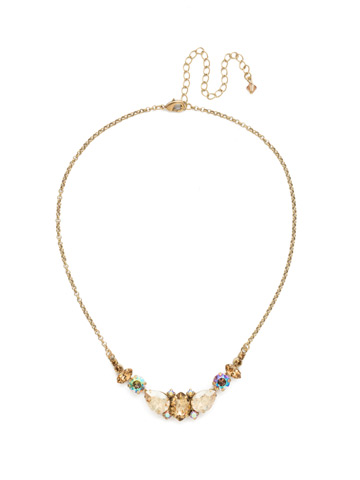 Crystal Crysathemum Necklace in Antique Gold-tone Neutral Territory