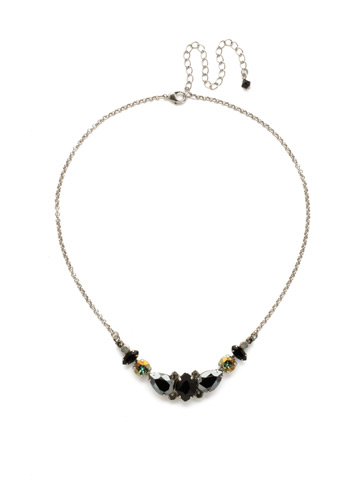 Crystal Crysathemum Necklace in Antique Silver-tone Black Onyx