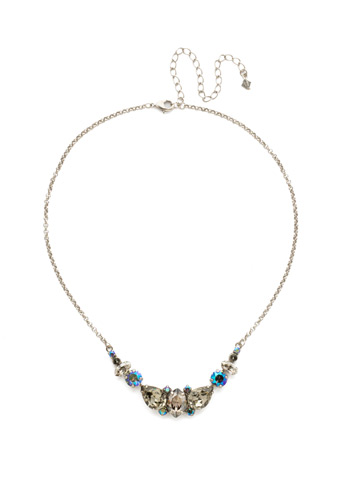 Crystal Crysathemum Necklace in Antique Silver-tone Crystal Rock