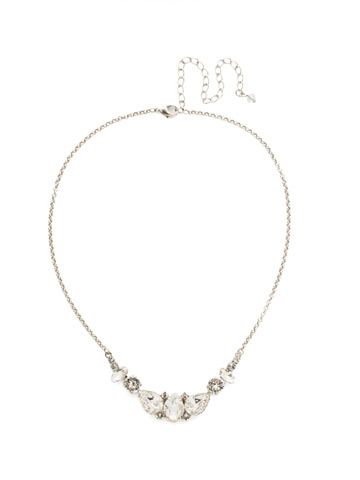 Crystal Crysathemum Necklace in Antique Silver-tone Crystal
