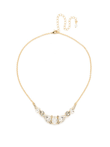 Crystal Crysathemum Necklace in Bright Gold-tone Crystal