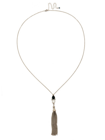 Timeless Tassel Necklace in Antique Silver-tone Glory Blue