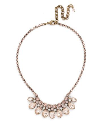 Precious Petals Necklace in Antique Gold-tone Pink Peony