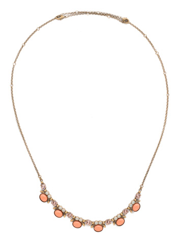 Semi-Charmed Necklace in Antique Gold-tone Pink Peony