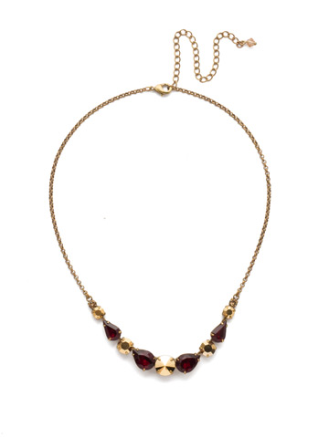 Polished Pear Necklace in Antique Gold-tone Go Garnet