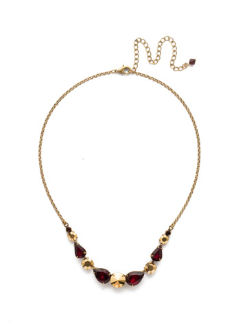 Polished Pear Necklace in Antique Gold-tone Mighty Maroon