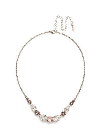 Polished Pear Necklace in Antique Silver-tone Crystal Rose
