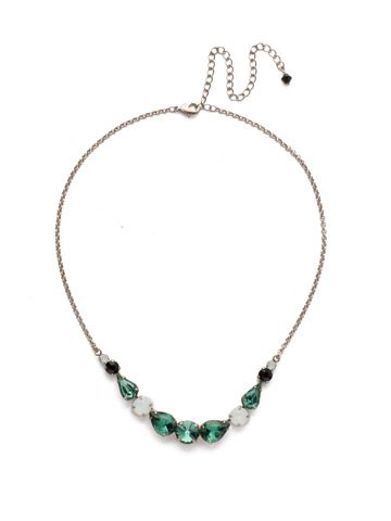 Polished Pear Necklace in Antique Silver-tone Game Day Green