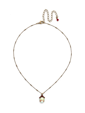 Crowning Around Necklace in Antique Gold-tone Go Garnet