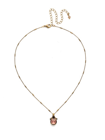 Crowning Around Necklace in Antique Gold-tone Mighty Maroon
