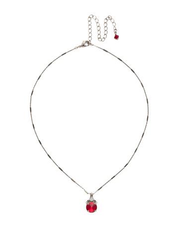 Crowning Around Necklace in Antique Silver-tone Crimson Pride