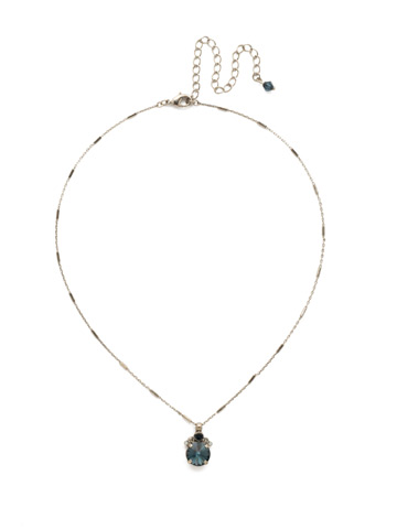 Crowning Around Necklace in Antique Silver-tone Glory Blue