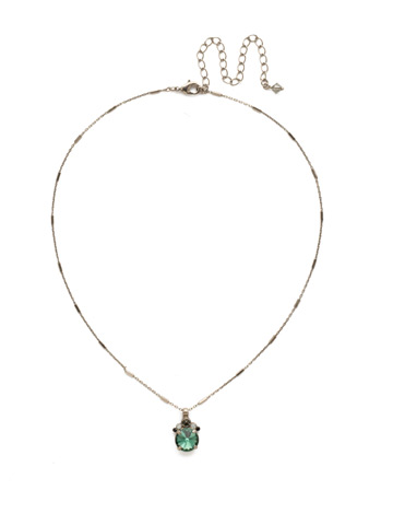 Crowning Around Necklace in Antique Silver-tone Game Day Green