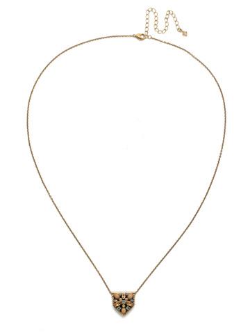 Mini Medalion Pendant Necklace in Antique Gold-tone Neutral Territory