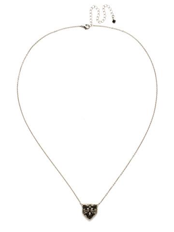 Mini Medalion Pendant Necklace in Antique Silver-tone Black Onyx