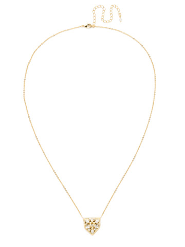 Mini Medalion Pendant Necklace in Bright Gold-tone Crystal