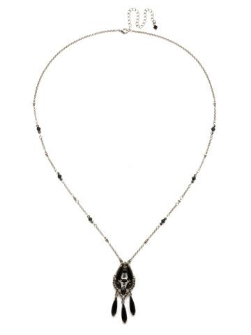 Brilliant Boho Pendant in Antique Silver-tone Black Onyx