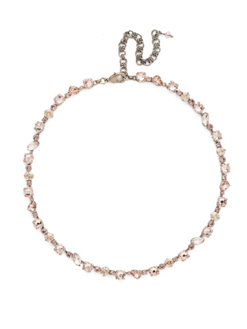 Crystal Collective Necklace in Antique Silver-tone Satin Blush