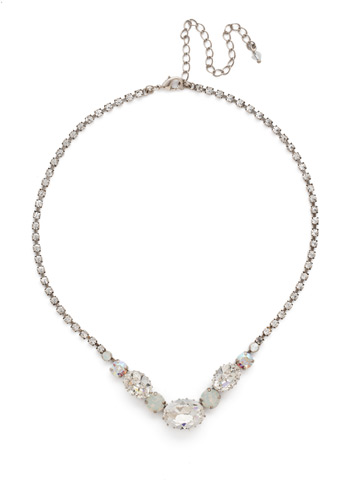 Standing Ovation Necklace in Antique Silver-tone White Bridal