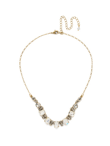 Divide and Conquer Necklace in Antique Gold-tone Crystal