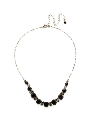 Divide and Conquer Necklace in Antique Silver-tone Black Onyx