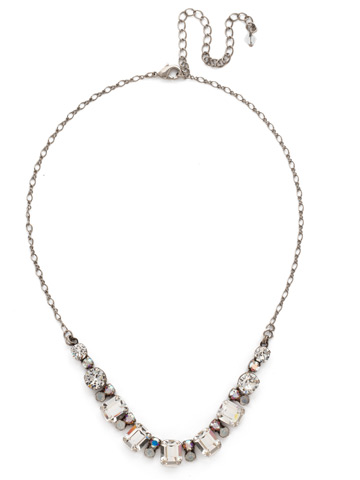 Divide and Conquer Necklace in Antique Silver-tone White Bridal