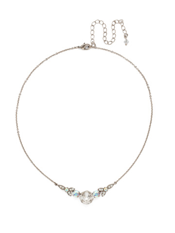 Decidedly Deco Pendant Necklace in Antique Silver-tone White Bridal