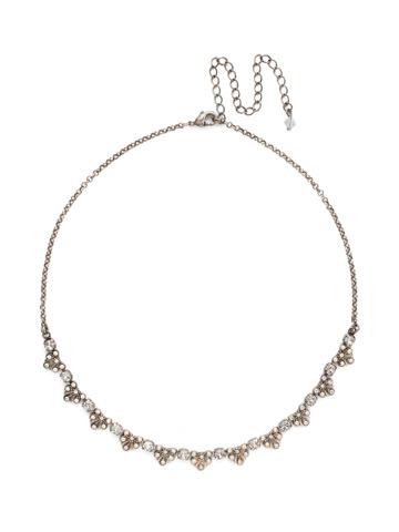 Brilliant Burst Pendant Necklace in Antique Silver-tone White Bridal