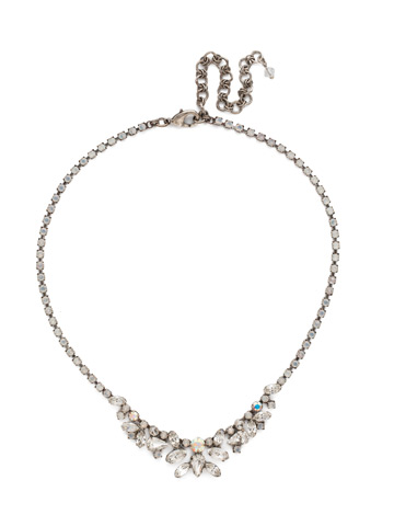 Cluster Bib-Necklace in Antique Silver-tone White Bridal