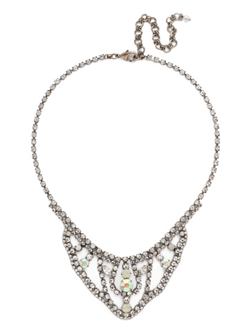 Crystal Crochet Statement Necklace in Antique Silver-tone White Bridal