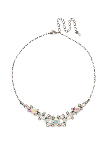 Crossover Statment Necklace in Antique Silver-tone White Bridal