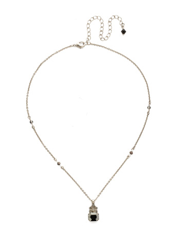 Crowning Glory Pendant Necklace in Antique Silver-tone Black Onyx