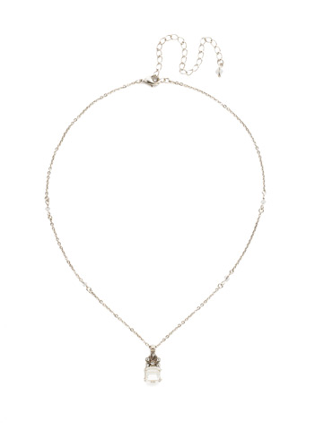 Crowning Glory Pendant Necklace in Antique Silver-tone Crystal