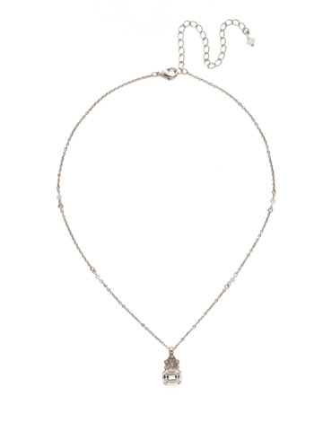 Crowning Glory Pendant Necklace in Antique Silver-tone Soft Petal